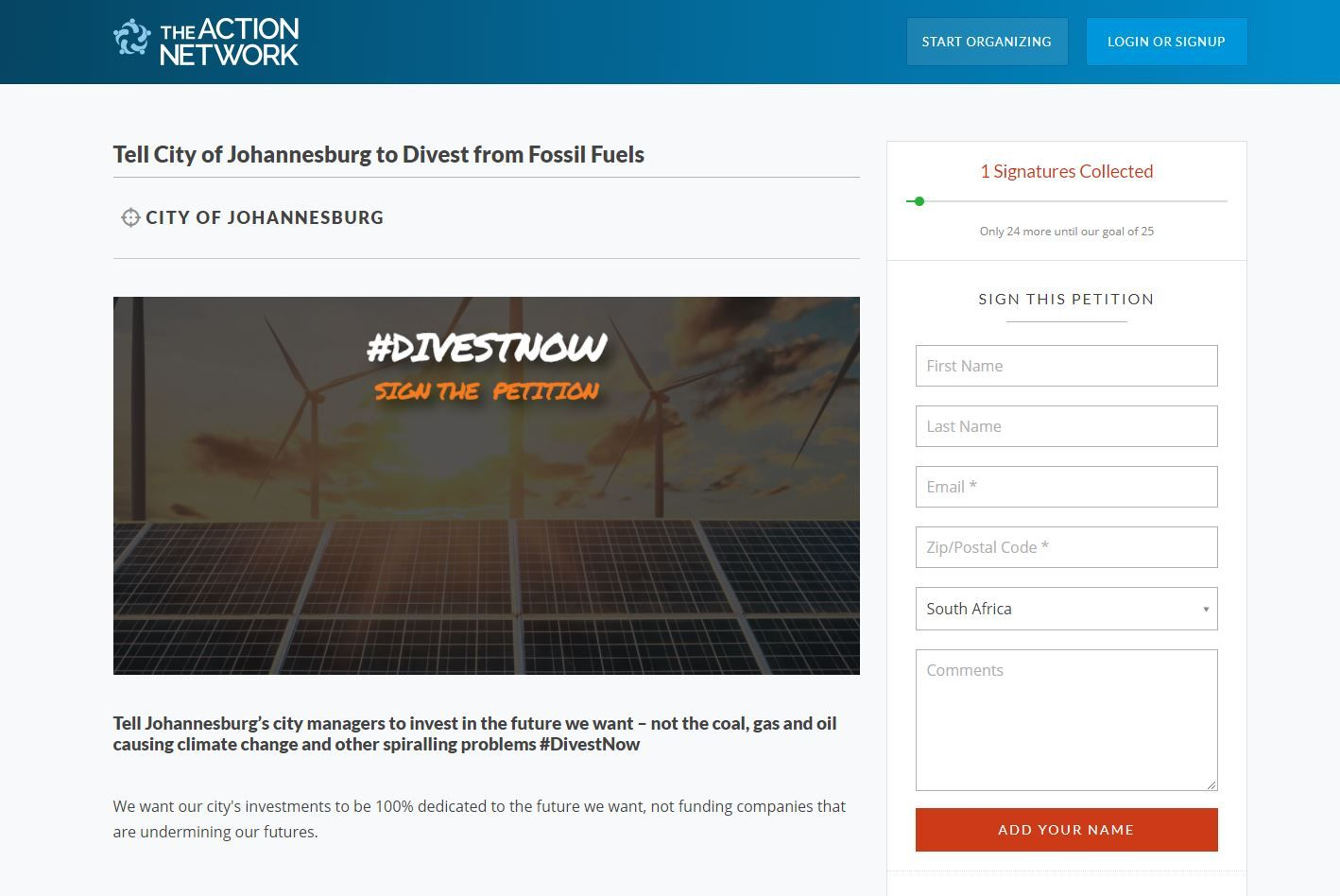 The Action Network - Johannesburg Divest from Fossil Fuels